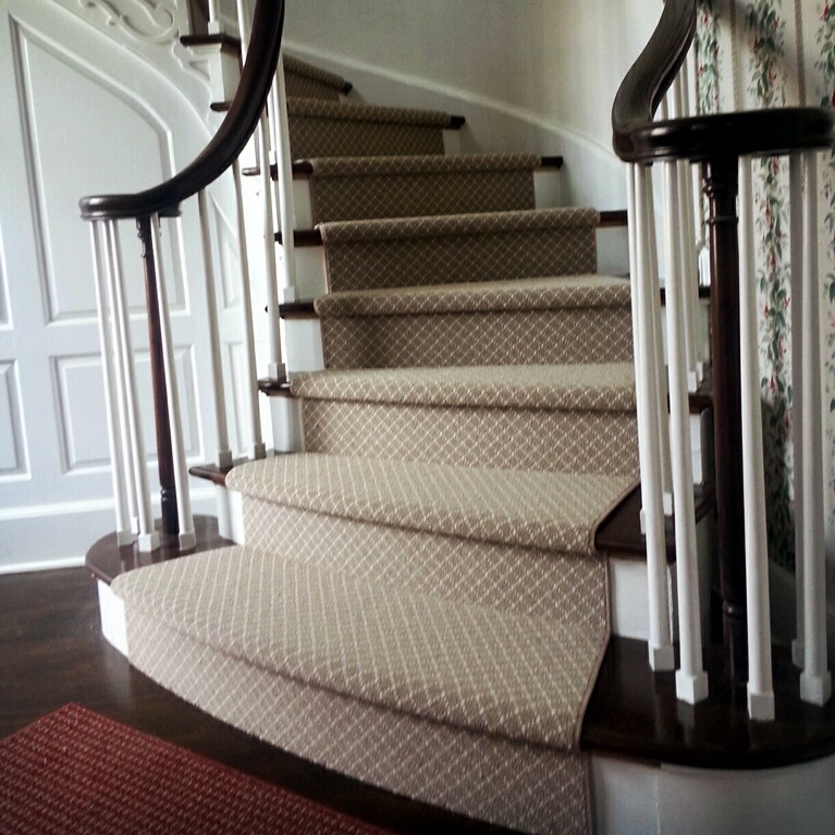 Superb Custom Runner Installed On Curved Staircase
